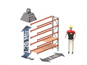 Grootvak Stelling aanbouw sectie  2,2 x 0,5 x 1,8 mtr. 5 niveau's 400kg. (per liggerpaar)