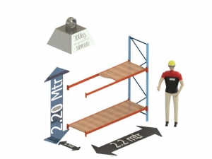 Grootvak Stelling aanbouw sectie  2,2 x 0,5 x 2,2 mtr. 2 niveau's 300kg. (per liggerpaar)