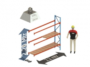 Grootvak Stelling aanbouw sectie  2,2 x 0,5 x 2,2 mtr. 3 niveau's 300kg. (per liggerpaar)