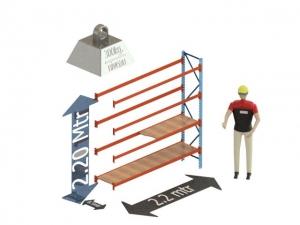 Grootvak Stelling aanbouw sectie  2,2 x 0,5 x 2,2 mtr. 4 niveau's 300kg. (per liggerpaar)