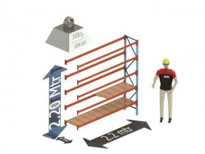 Grootvak Stelling aanbouw sectie  2,2 x 0,5 x 2,2 mtr. 5 niveau's 300kg. (per liggerpaar)
