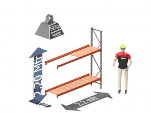 Grootvak Stelling aanbouw sectie  2,2 x 0,5 x 2,2 mtr. 2 niveau's 600kg. (per liggerpaar)