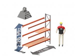 Grootvak Stelling aanbouw sectie  2,2 x 0,5 x 2,2 mtr. 3 niveau's 600kg. (per liggerpaar)