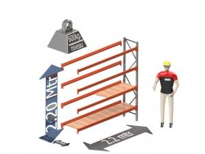 Grootvak Stelling aanbouw sectie  2,2 x 0,5 x 2,2 mtr. 4 niveau's 600kg. (per liggerpaar)