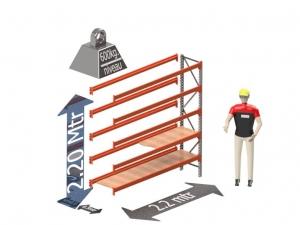 Grootvak Stelling aanbouw sectie  2,2 x 0,5 x 2,2 mtr. 5 niveau's 600kg. (per liggerpaar)
