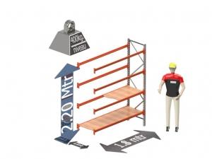 Grootvak Stelling aanbouw sectie  2,2 x 0,6 x 1,8 mtr. 4 niveau's 400kg. (per liggerpaar)