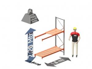 Grootvak Stelling aanbouw sectie  2,2 x 0,7 x 1,8 mtr. 2 niveau's 400kg. (per liggerpaar)