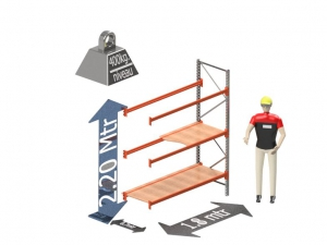 Grootvak Stelling aanbouw sectie  2,2 x 0,7 x 1,8 mtr. 3 niveau's 400kg. (per liggerpaar)