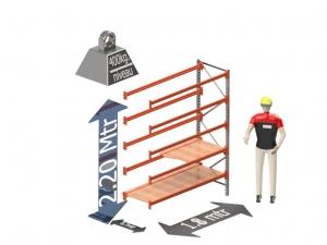Grootvak Stelling aanbouw sectie  2,2 x 0,7 x 1,8 mtr. 5 niveau's 400kg. (per liggerpaar)