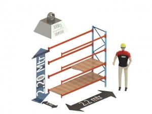 Grootvak Stelling aanbouw sectie  2,2 x 0,7 x 2,2 mtr. 4 niveau's 300kg. (per liggerpaar)