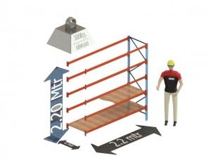 Grootvak Stelling aanbouw sectie  2,2 x 0,7 x 2,2 mtr. 5 niveau's 300kg. (per liggerpaar)