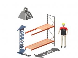 Grootvak Stelling aanbouw sectie  2,2 x 0,7 x 2,2 mtr. 2 niveau's 600kg. (per liggerpaar)