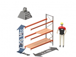 Grootvak Stelling aanbouw sectie  2,2 x 0,7 x 2,2 mtr. 3 niveau's 600kg. (per liggerpaar)