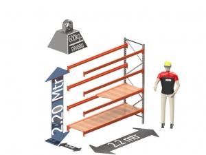 Grootvak Stelling aanbouw sectie  2,2 x 0,7 x 2,2 mtr. 4 niveau's 600kg. (per liggerpaar)