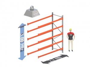 Aanbouw Sectie: Hoogte: 3,0 mtr. Diepte: 1.1 mtr. Breedte sectie : 2.7 mtr. Aantal niveau's: 5 Dragers 120x50 L=2.7mtr. Draagvermogen: 3.000 Kg. (per liggerpaar)