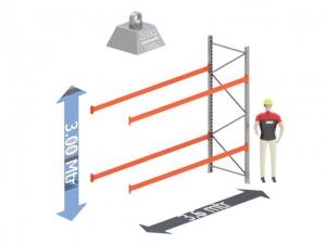 Aanbouw Sectie: Hoogte: 3.0 mtr. Diepte: 1.1 mtr. Breedte sectie : 3.6 mtr. Aantal niveau's: 2 Dragers 140x50 L= 3.6mtr. Draagvermogen: 2.500Kg. (per liggerpaar)