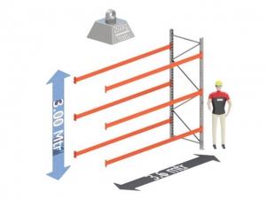 Aanbouw Sectie: Hoogte: 3.0 mtr. Diepte: 1.1 mtr. Breedte sectie : 3.6 mtr. Aantal niveau's: 3 Dragers 140x50 L= 3.6mtr. Draagvermogen: 2.500Kg. (per liggerpaar)