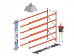 Aanbouw Sectie: Hoogte: 3.0 mtr. Diepte: 1.1 mtr. Breedte sectie : 3.6 mtr. Aantal niveau's: 5 Dragers 140x50 L= 3.6mtr. Draagvermogen: 2.500Kg. (per liggerpaar)