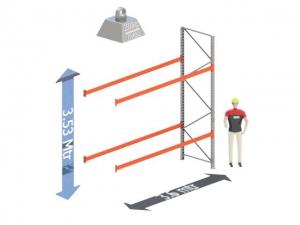 Aanbouw Sectie: Hoogte: 3.5 mtr. Diepte: 1.1 mtr. Breedte sectie : 3.6 mtr. Aantal niveau's: 2 Dragers 140x50 L= 3.6mtr. Draagvermogen: 2.500Kg. (per liggerpaar)