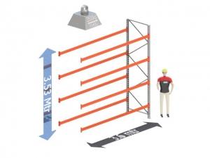 Aanbouw Sectie: Hoogte: 3.5 mtr. Diepte: 1.1 mtr. Breedte sectie : 3.6 mtr. Aantal niveau's: 4 Dragers 140x50 L= 3.6mtr. Draagvermogen: 2.500Kg. (per liggerpaar)
