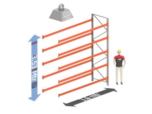 Aanbouw Sectie: Hoogte: 3.5 mtr. Diepte: 1.1 mtr. Breedte sectie : 3.6 mtr. Aantal niveau's: 5 Dragers 140x50 L= 3.6mtr. Draagvermogen: 2.500Kg. (per liggerpaar)