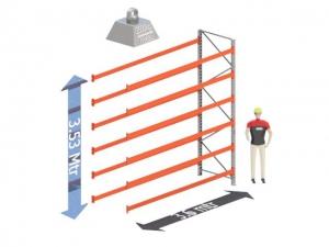Aanbouw Sectie: Hoogte: 3.5 mtr. Diepte: 1.1 mtr. Breedte sectie : 3.6 mtr. Aantal niveau's: 6 Dragers 140x50 L= 3.6mtr. Draagvermogen: 2.500Kg. (per liggerpaar)