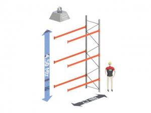 Aanbouw Sectie: Hoogte: 4.5 mtr. Diepte: 1.1 mtr. Breedte sectie : 2.7 mtr. Aantal niveau's: 3 Dragers 100x50 L=2.7mtr. Draagvermogen: 2.000Kg. (per liggerpaar)