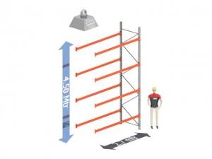 Aanbouw Sectie: Hoogte: 4.5 mtr. Diepte: 1.1 mtr. Breedte sectie : 2.7 mtr. Aantal niveau's: 4 Dragers 100x50 L=2.7mtr. Draagvermogen: 2.000Kg. (per liggerpaar)