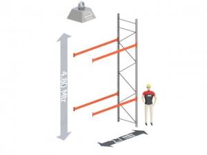 Aanbouw Sectie: Hoogte: 4,8 mtr. Diepte: 1.1 mtr. Breedte sectie : 2.7 mtr. Aantal niveau's: 2 Dragers 120x50 L=2.7mtr. Draagvermogen: 3.000 Kg. (per liggerpaar)