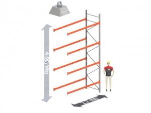 Aanbouw Sectie: Hoogte: 4,8 mtr. Diepte: 1.1 mtr. Breedte sectie : 2.7 mtr. Aantal niveau's: 4 Dragers 120x50 L=2.7mtr. Draagvermogen: 3.000 Kg. (per liggerpaar)