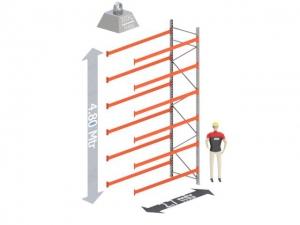 Aanbouw Sectie: Hoogte: 4,8 mtr. Diepte: 1.1 mtr. Breedte sectie : 2.7 mtr. Aantal niveau's: 6 Dragers 120x50 L=2.7mtr. Draagvermogen: 3.000 Kg. (per liggerpaar)