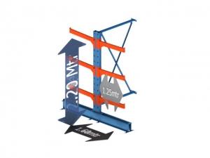 Draagarmstelling medium duty dubbelzijdig aanbouw sectie 120 Cm. x 220 Cm. x 80 Cm.