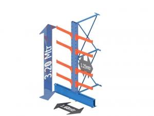 Draagarmstelling medium duty dubbelzijdig aanbouw sectie 300 Cm. X 320 Cm. x 80 Cm.