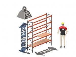 Grootvak Stelling start sectie  2,2 x 0,5 x 1,8 mtr. 5 niveau's 400kg. (per liggerpaar)