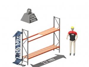 Grootvak Stelling start sectie  2,2 x 0,5 x 2,7 mtr. 2 niveau's 200kg. (per liggerpaar)