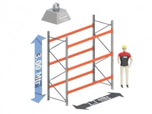Start Sectie: Hoogte: 2.03 mtr. Diepte: 1.1 mtr. Breedte sectie : 2.7 mtr. Aantal niveau's: 3 Dragers 120x50 L=2.7mtr. Draagvermogen: 3.000 Kg. (per liggerpaar)