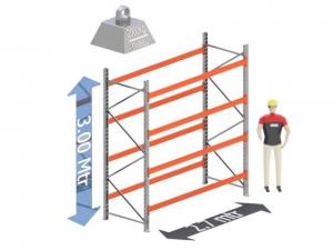 Start Sectie: Hoogte: 3.0 mtr. Diepte: 1.1 mtr. Breedte sectie : 2.7 mtr. Aantal niveau's: 4 Dragers 100x50 L=2.7mtr. Draagvermogen: 2.000 Kg. (per liggerpaar)