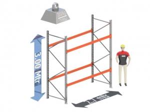 Start Sectie: Hoogte: 3.0 mtr. Diepte: 1.1 mtr. Breedte sectie : 2.7 mtr. Aantal niveau's: 2 Dragers 120x50 L=2.7mtr. Draagvermogen: 3.000 Kg. (per liggerpaar)