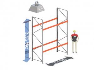 Start Sectie: Hoogte: 3.5 mtr. Diepte: 1.1 mtr. Breedte sectie : 2.7 mtr. Aantal niveau's: 2 Dragers 120x50 L=2.7mtr. Draagvermogen: 3.000 Kg. (per liggerpaar)