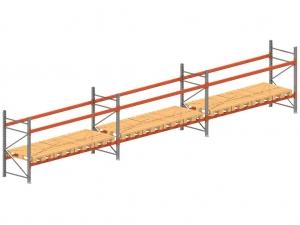 Palletstelling set: 2025 hoog 1100 diep en 11.2 mtr lang 2 niveau's (3.6 mtr./sectie)