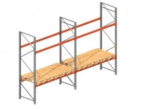 Palletstelling set: 3525 hoog 1100 diep en 5.6 mtr lang 2 niveau's (2.7 mtr./sectie)