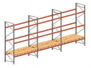 Palletstelling set: 3525 hoog 1100 diep en 8.4 mtr lang 3 niveau's (2.7 mtr./sectie)