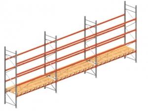 Palletstelling set: 4050hoog 1100 diep en 5.67 mtr lang 5 niveau's (3.6 mtr./sectie)