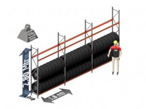Bandenstelling 280 cm x 50 cm x 540 cm 3 niveau's (1.8 mtr./sectie)