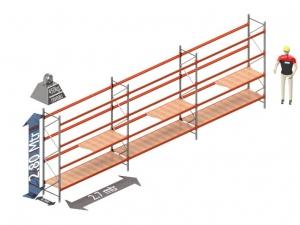 Grootvakstelling set: 8.1 mtr lang 280 cm hoog en 60 cm diep 4 niveau's (2.7 mtr./sectie)