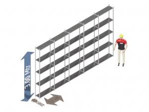 Legbordstelling 300 x 500 x 30 Cm (hxbxd) -  5 - niveau's verzinkt voordeelset