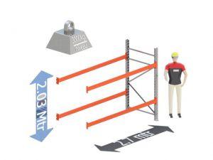Aanbouw Sectie: Hoogte: 2.03 mtr. Diepte: 1.1 mtr. Breedte sectie : 2.7 mtr. Aantal niveau's: 2 Dragers 120x50 L=2.7mtr. Draagvermogen: 3.000 Kg. (per liggerpaar)
