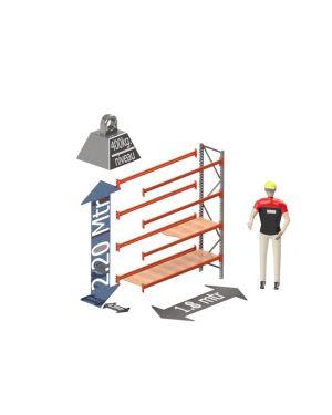 Grootvak Stelling aanbouw sectie  2,2 x 0,5 x 1,8 mtr. 4 niveau's 400kg. (per liggerpaar)