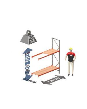 Grootvak Stelling aanbouw sectie  2,2 x 0,6 x 1,8 mtr. 2 niveau's 400kg. (per liggerpaar)