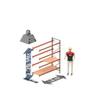 Grootvak Stelling aanbouw sectie  2,2 x 0,7 x 1,8 mtr. 4 niveau's 400kg. (per liggerpaar)